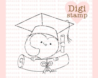 Graduation Owl Digital Stamp for Card Making, Paper Crafts, Scrapbooking, Hand Embroidery, Invitations, Stickers, Cookie Decorating