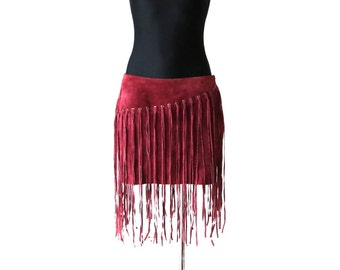 Burgundy Suede Mini Skirt with Fringe Genuine Leather Skirt Low Waisted Skirt Medium Size