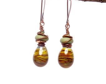 Artisan Crafted Jewelry, Olive Swirl Art Bead Earrings, Dangle and Drop Earrings