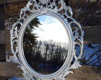 Silver Wall Mirror/ Oval Frame/ Mid Century Modern/ Decorative Wall Mirror/ Hollywood Regency Mirror/ Ornate Mirrors/ Baroque Mirror