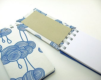 Small Blank Notebook, Teacher Notepad, Small Spiral Bound Notebook, To Do Notepad, cotton fabric blue cream clouds rain, to do list, daily