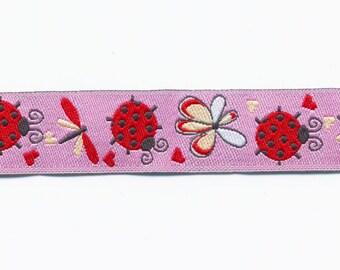 Pink Ladybug jacquard woven Ribbon braid Fantasy by the yard