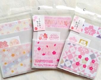 Sakura letter set, sakura mini letter set, sakura letter paper, sakura envelope, sakura stationery, cherry blossom, flower letter set