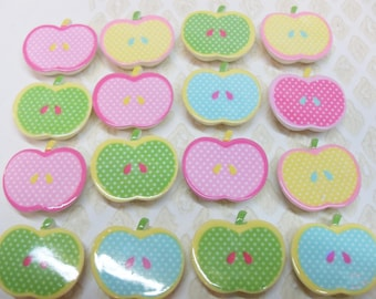 10 x 22mm Apple Cabochons in Multifarben
