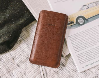 "Sleeve for OnePlus 5, phone pouch, leather, felt, ""Dandy"", by band&roll"