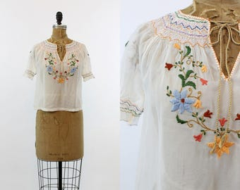 30s Hungarian Blouse XS / 1930s Embroidered Peasant Top /  Budapest Rose Top
