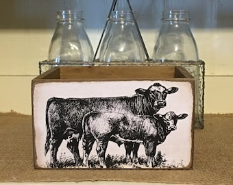 Farmhouse Decor,Primitive Decor,Wood Box,Cow Decor,Farm Style Decor,Decorative Storage Box, Kitchen Decor,Country Decor
