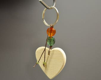 keychain wooden heart for writing your message