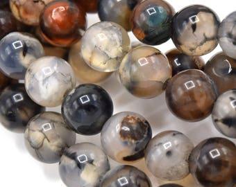 "Beads 6mm stone dragon vein agate natural round set of 20/40 units-Pearls, agate dragon vein 1/4 ""natural stone round set of 20/40"""