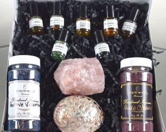 Ultimate Wellness Gift Box- Valentines Day Gift- Abalone Shell- Oils- Wellness- Wicca- Birthday Gift- Spiritual Gift Box- Rose Quartz