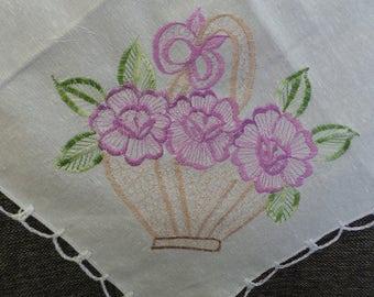 Handmade Flower Basket Doily