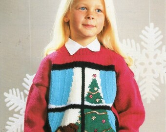 """childrens Christmas jumper knitting pattern PDF Christmas tree motif sweater 26-36"""" DK light worsted 8ply Instant Download"""