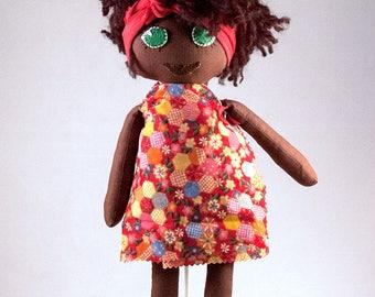 Handmade rag doll Afro flower dress