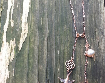 Celtic Knot and Flying Swallows Chain Necklace