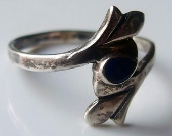 Vintage 925 Sterling Silver Blue Enamel Ring Size 5 1/4 - K