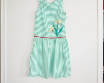 Vintage Green and White Striped Girl's Dress