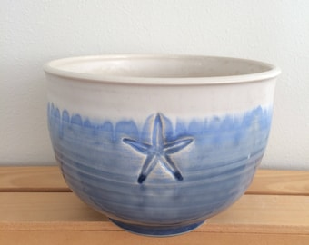 Gift for Cook,Pottery Bowl, Ceramic Bowl, Handmade,Coastal Pottery, Starfish Design, Serving Bowl, Coastal Gift, In Stock, Ready to Ship