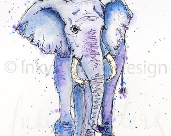 Elephant giclee print - from original watercolour painting - wildlife art, elephant painting, fine art print, safari animals, wall art