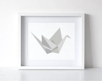 Origami Crane Print, Geometric Bird Wall Print, Printable Origami Art, Digital Bird Print Decor, INSTANT DOWNLOAD