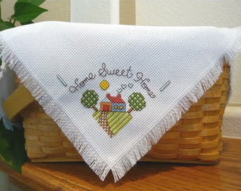 Home Sweet Home Cross Stitched Basket Liner - Bread Cloth - housewarming - gift basket