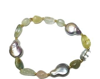 Aquamarine Pearl Stretch Cord Bracelet
