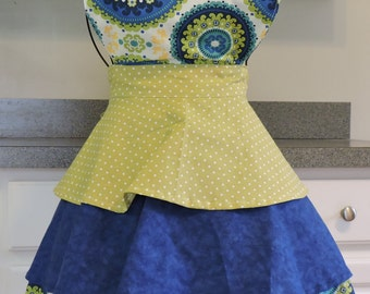 3 Tier Blue and Green Full Apron