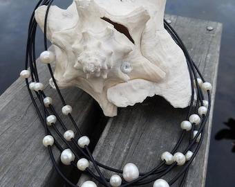 Multi strand layered cultured pearl neclace