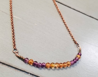 Copper Citrine and Amethyst Necklace / Corrine Necklace / Amethyst Necklace / Corrine Jewelry / Amethyst Jewelry / Gemstone Necklace