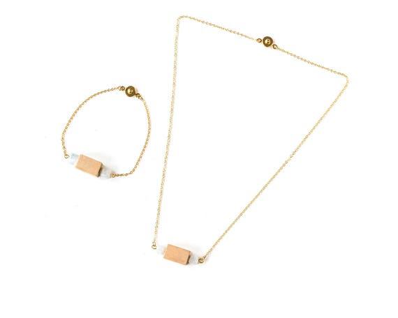 Gemstone Bar Diffuser Necklace & Bracelet Set (Gold)