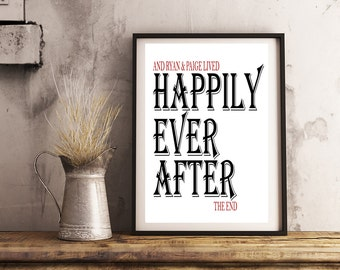 Personalized Couple Art- Happily Ever After- Print 8x10