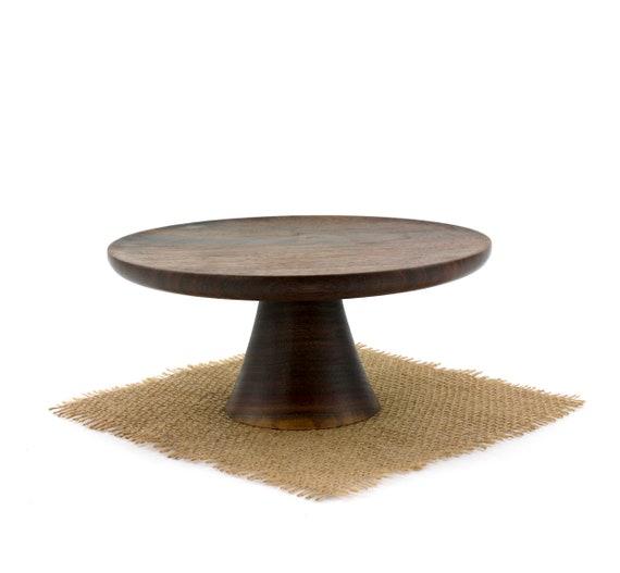 "Wooden 8"" Walnut Cake Stand  / Pedestal Cake Plate /Cupcake Stand"