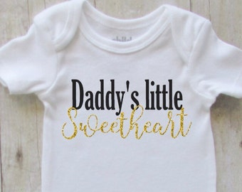 Baby christmas gift - new dad gift - daddys little - sweetheart - daddys girl baby shirt - black with gold glitter - dad gift - baby girl