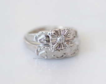 Vintage 14K White Gold Diamond Bridal Set