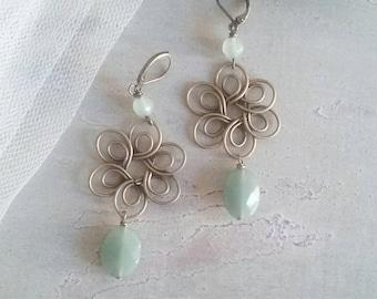 Brass earrings and Green aventurine stones