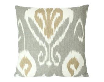Kravet Bansuri Grey Tan Ivory Ikat Pillow Cover