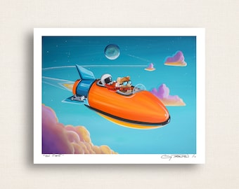 On Time - little astronaut, bear, and robot on a mission - Limited Edition Signed 8x10 Semi Gloss Print (6/10)