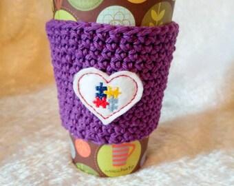 Autism, Crochet Coffee Sleeve, Autism Awareness, Reusable Coffee Sleeve, Gift Under 10, Java Jacket, Travel Cup Sleeve, Mug Hug, Gift Basket
