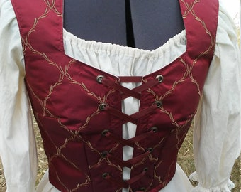 Embroidered Burgundy Corseted Vest