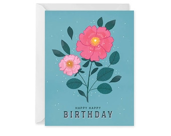 Floral Birthday Card - Birthday Card - Happy Birthday Card Blank Inside