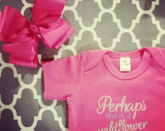 Perhaps she is a wildflower Onesie with Matching Double Trouble Bow