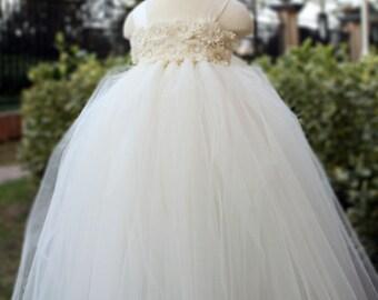 Flower Girl Dress Antique white Ivory tutu dress baby dress toddler birthday dress wedding dress 1T 2T 3T 4T 5T 6T
