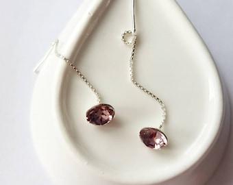 Sterling Silver Ear Threaders, Long Chain Earrings, Vintage Rose, Threader Earrings, Minimalist, Everyday Studs, Long Pink Crystal Earrings