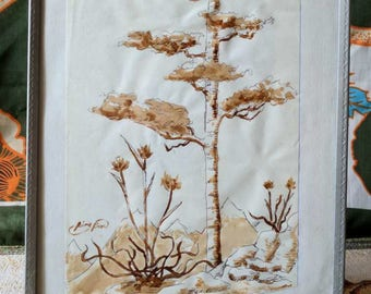 Coffee stain original painting, tree in the mountains