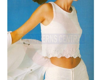 Retro 80s Sleeveless Knitted Summer Top in Fil d'Ecosse Bust Size 30-36 Instant Download PDF 2 pages