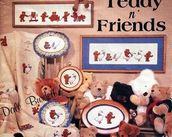 Teddy N' Friends By Dale Burdett Vintage Cross Stitch Pattern Leaflet 1984