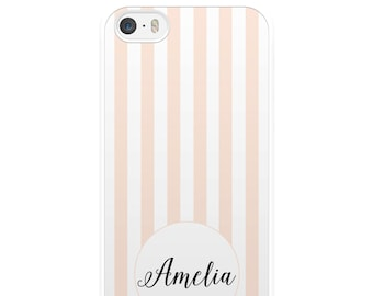 Personalised Pink and White Striped iPhone Case, iPhone 5, iPhone 5s, iPhone 6, iPhone 6s, iPhone 6 Plus, iPhone 7, iPhone 7 Plus