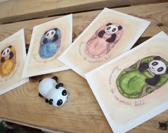 """Birth card """"Welcome to the new baby '-birth, Panda, bassinet watercolor Illustration"""""""