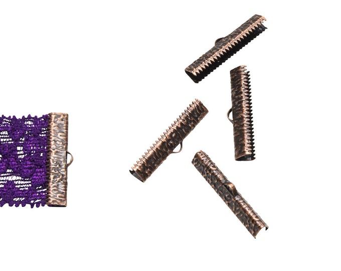 16 pieces  30mm ( 1 3/16 inch ) Antique Copper Ribbon Clamp End Crimps - Artisan Series