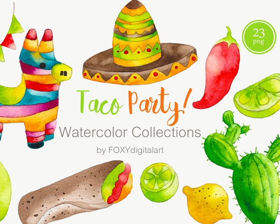 taco clipart mexican food clipart watercolor cinco de mayo rh etsy com mexican food clipart free mexican food lunch clipart