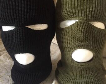 Black or OD green 3 hole ski mask